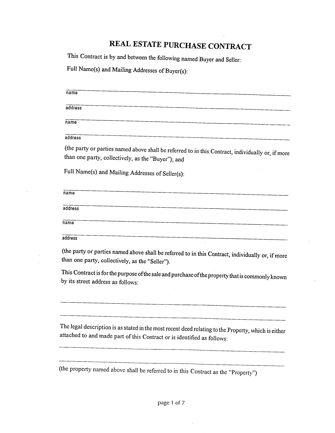 Simple Blank Contract Template