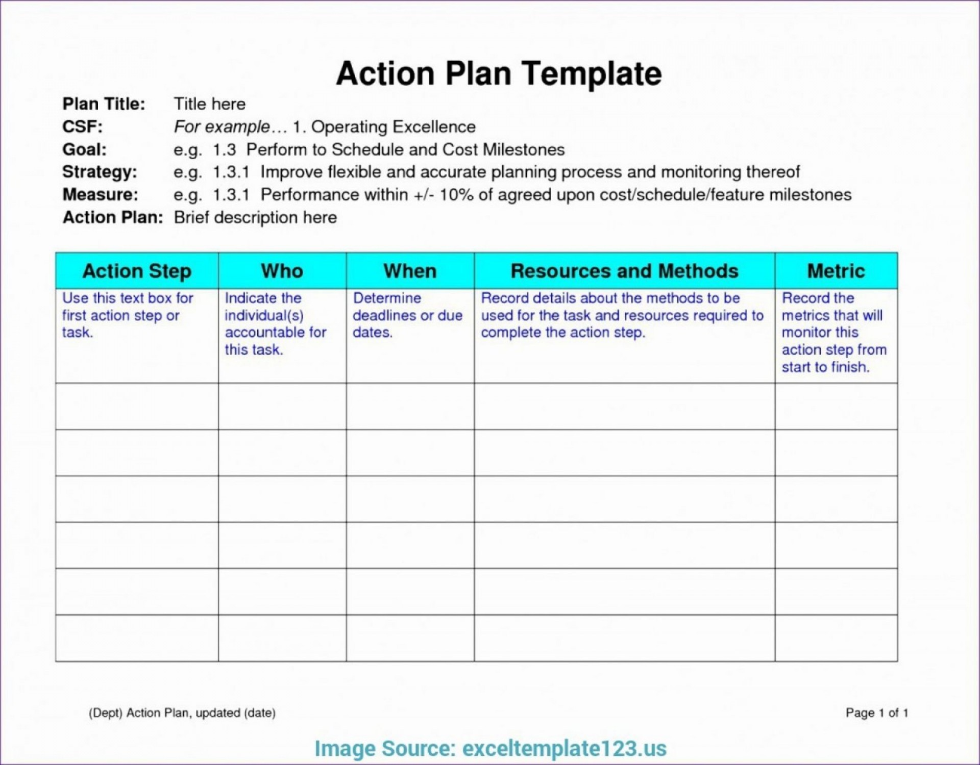 Simple Project Plan Template Excel Free Download