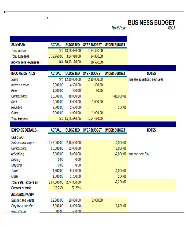 Small Business Budget Template Excel