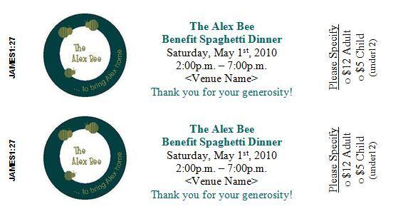 Spaghetti Dinner Ticket Template