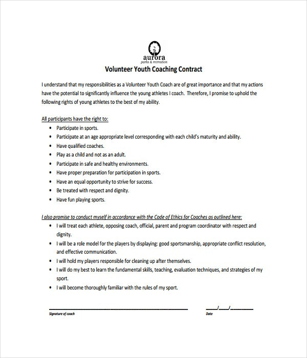 Sports Coach Contract Template