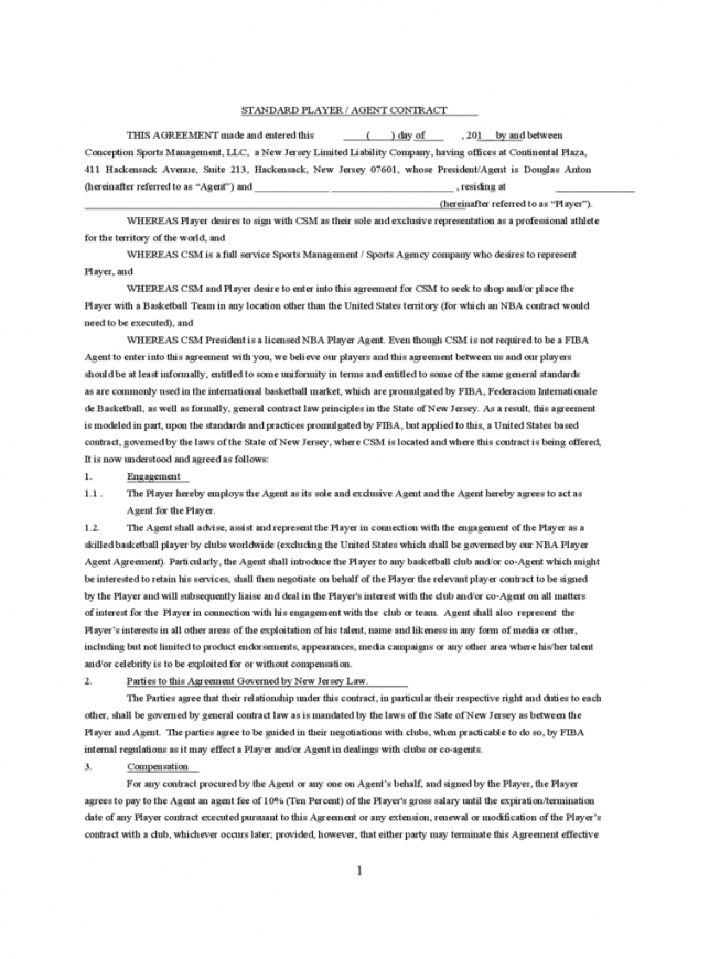 Sport Contract Template 2 Free Templates In Pdf, Word, Excel Download Sports Player Contract Template