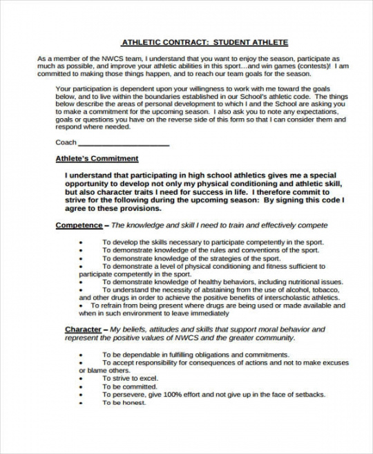Free Professional Athlete Contract Template Classy Professional Athlete Sports Player Contract Template