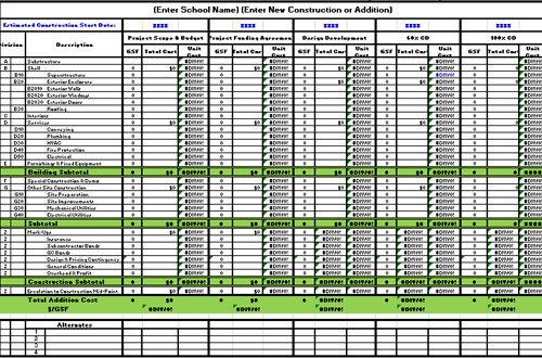 Spreadsheet Construction Cost Estimate Template Excel