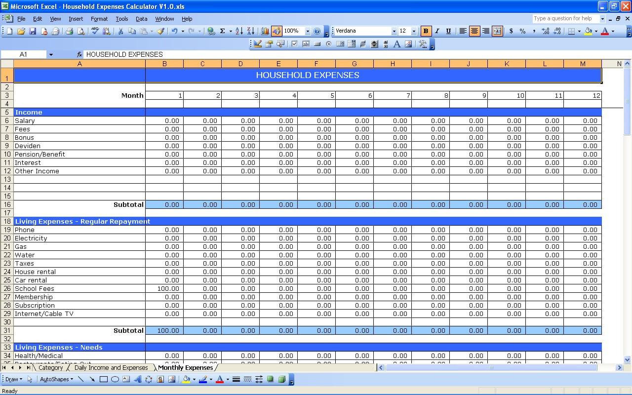 Spreadsheet Household Expenses Template