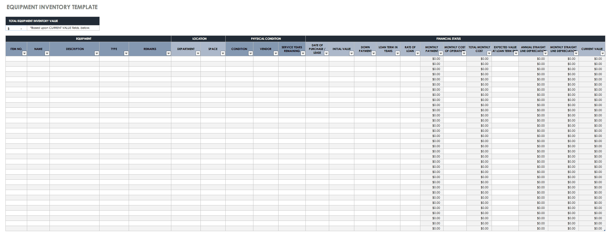 Spreadsheet Inventory Template