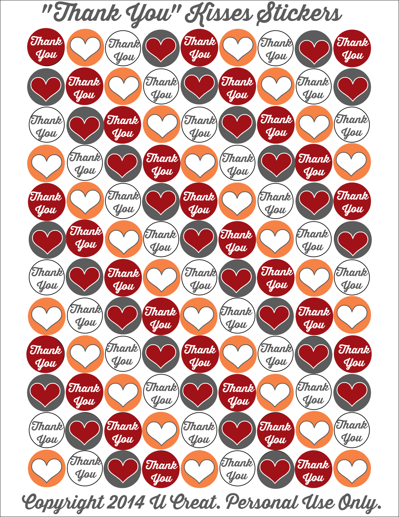 Stickers For Hershey Kisses Bottoms Template