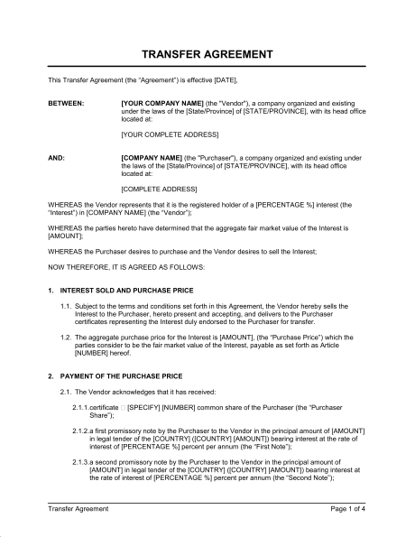 Stock Transfer Agreement Template
