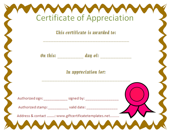 Student Appreciation Certificate Templates