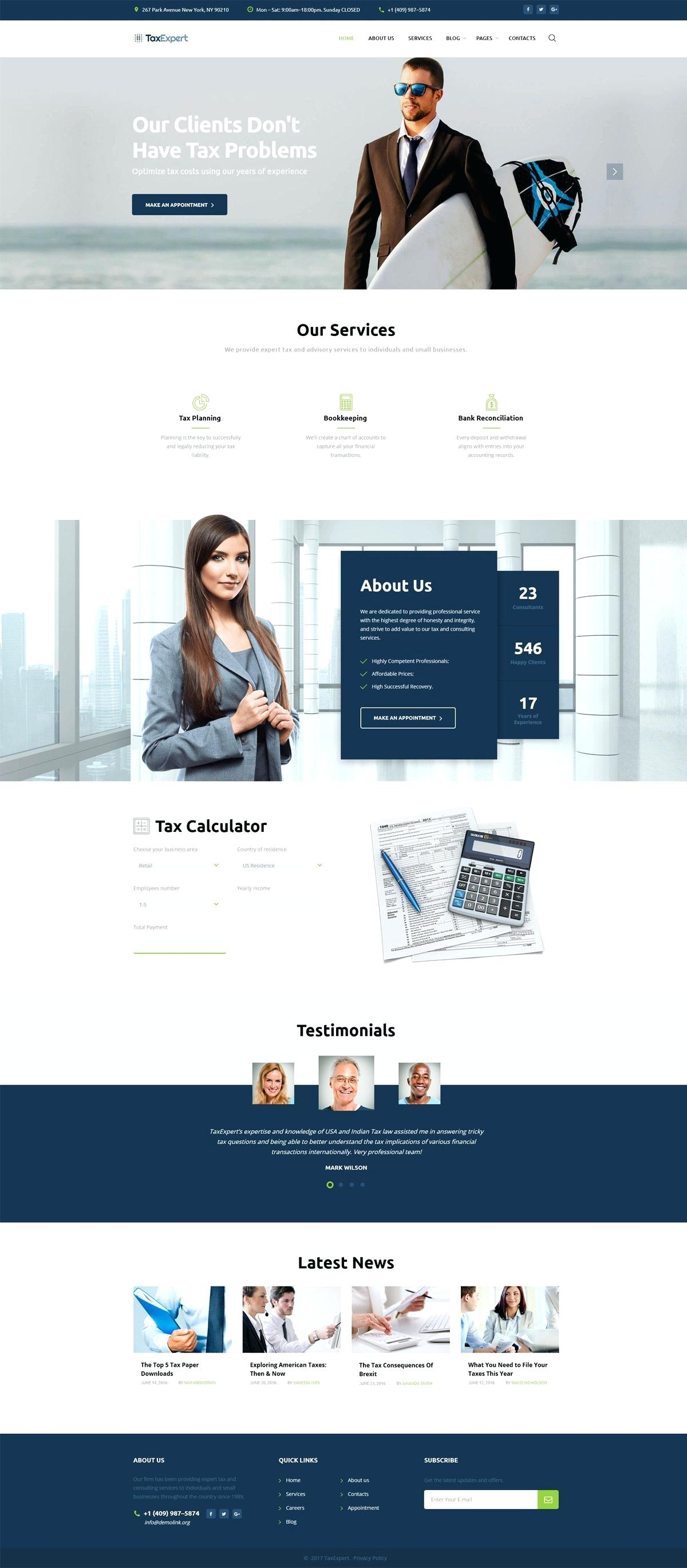 Tax Consultant Website Template Free