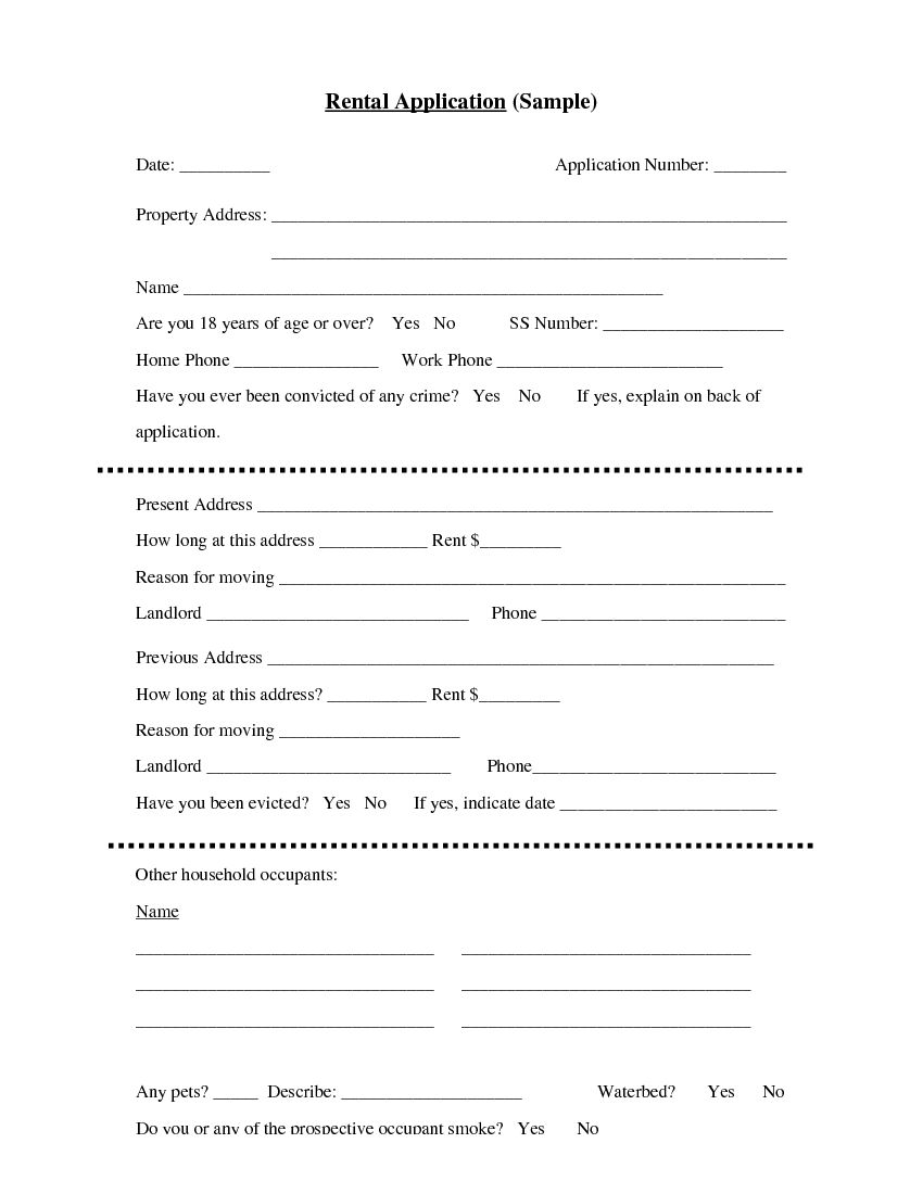 Template Basic Rental Application Form