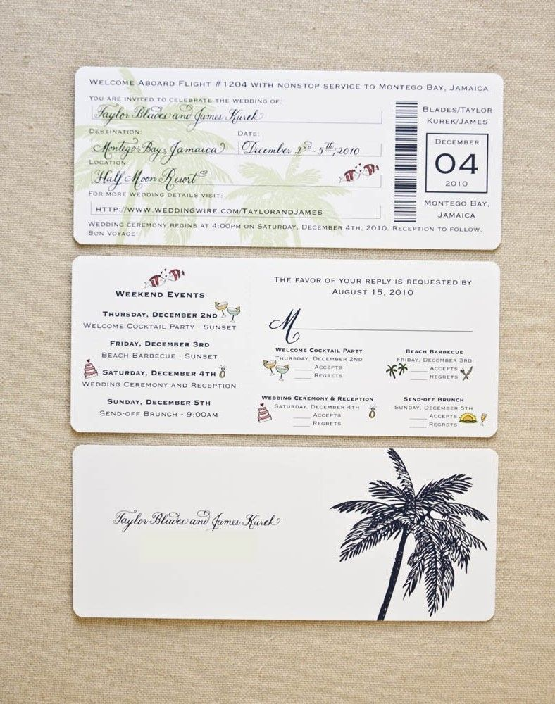 Template Boarding Pass Wedding Invitations