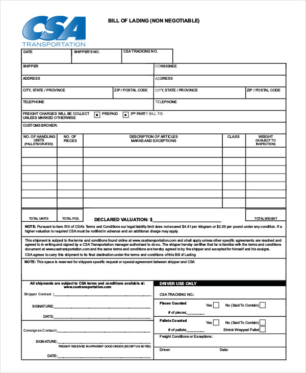 Template For Bill Of Lading