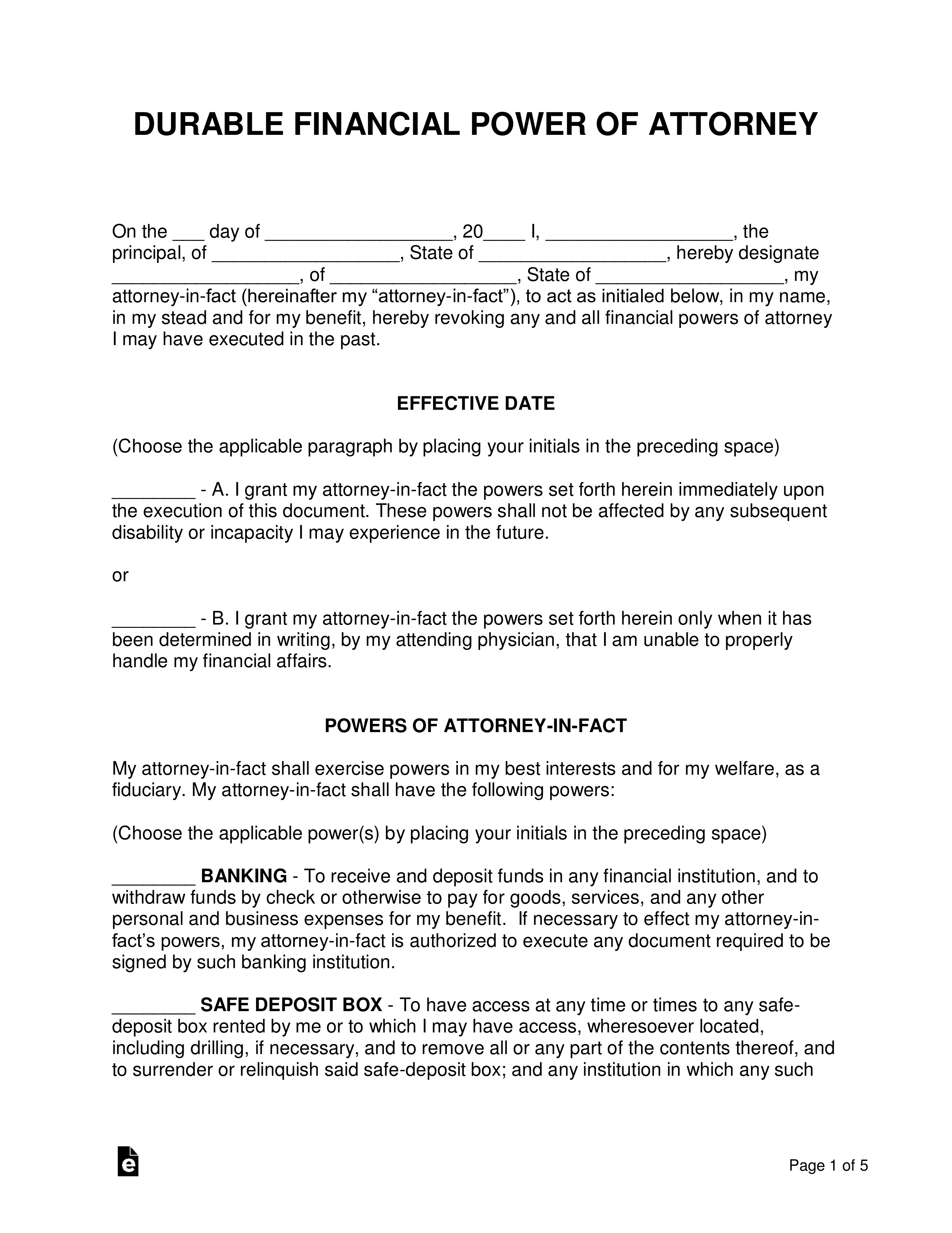 Template For Durable Power Of Attorney