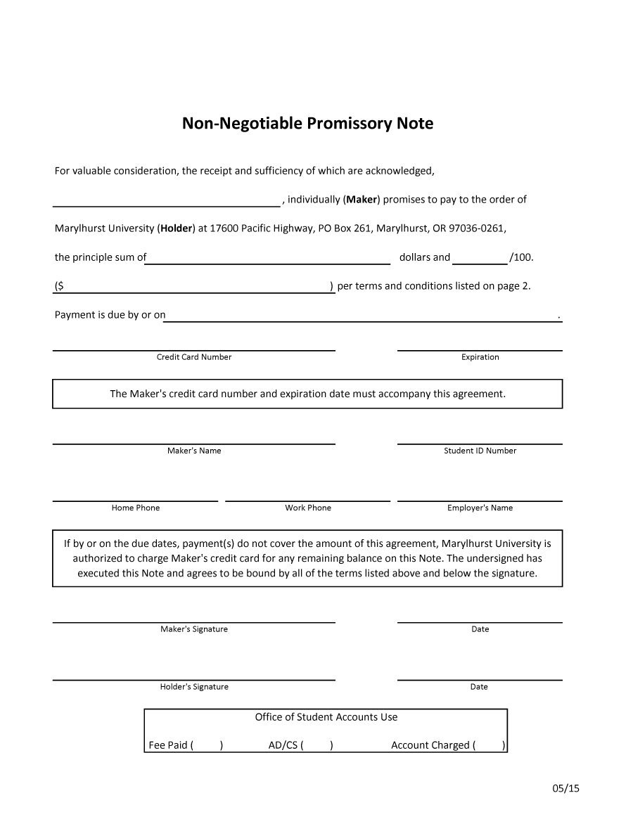 Template For Promissory Note Free
