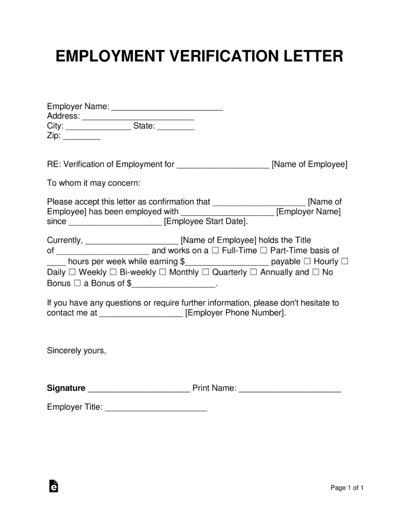 Template Free Employment Verification Form