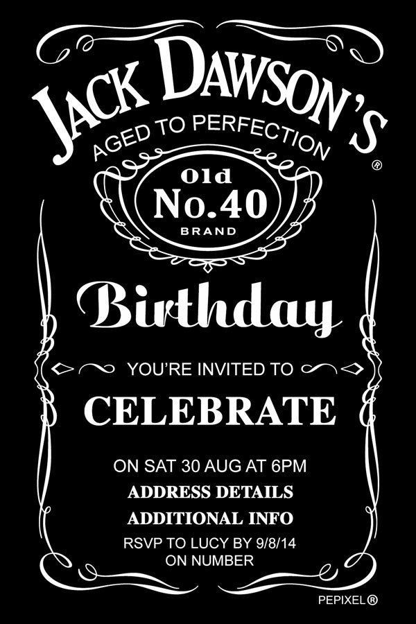 Template Jack Daniels Birthday Invitation