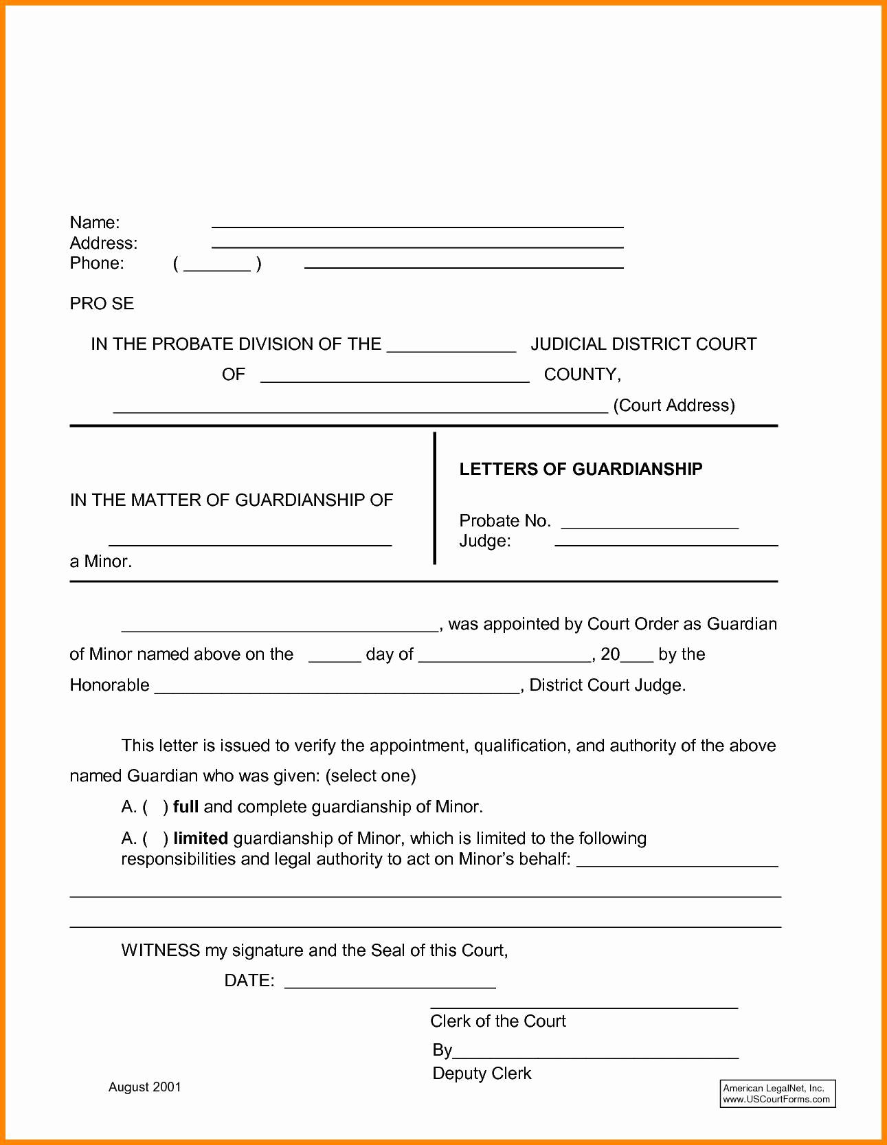 Temporary Guardianship Agreement Form Temporary Custody Letter