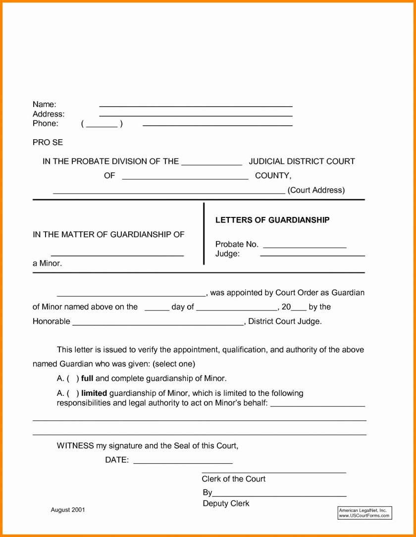 Temporary Guardianship Letter Template