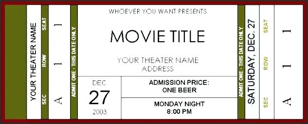 Theater Ticket Template Word