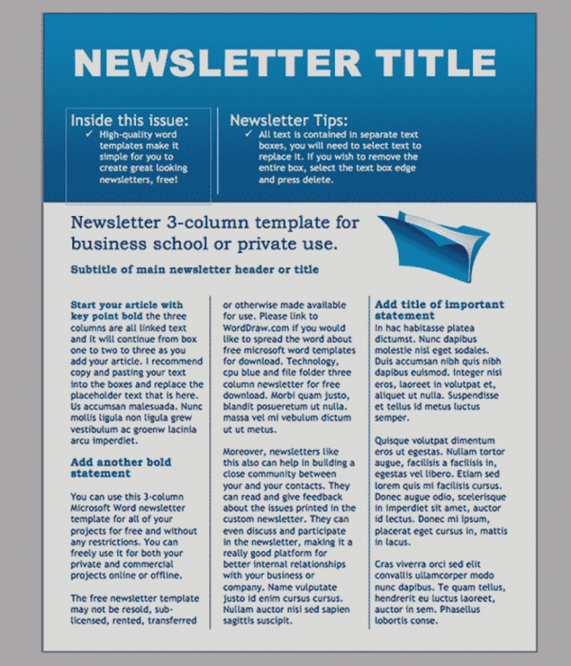 Three Column Newsletter Template