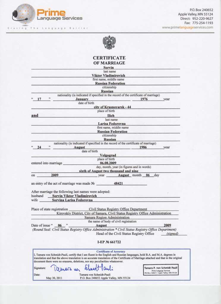 Uscis Marriage Certificate Translation Template