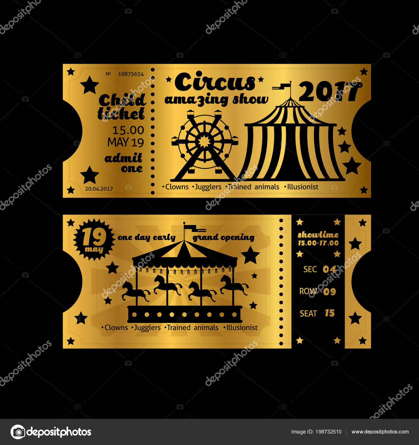 Vintage Party Invitation. Retro Circus Carnival Ticket Template Vector Golden Tickets Isolated On Black Background