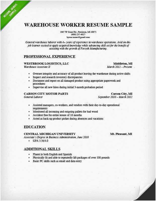 Data Warehouse Resume Very Best Warehouse Worker Resume Sample