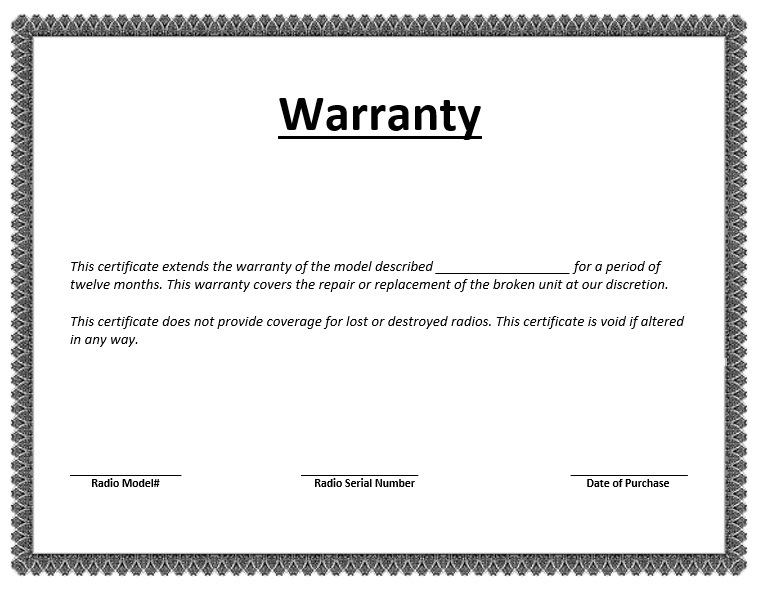 Warranty Document Template