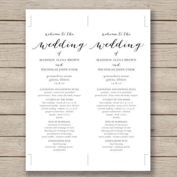 Wedding Program Template Word Free