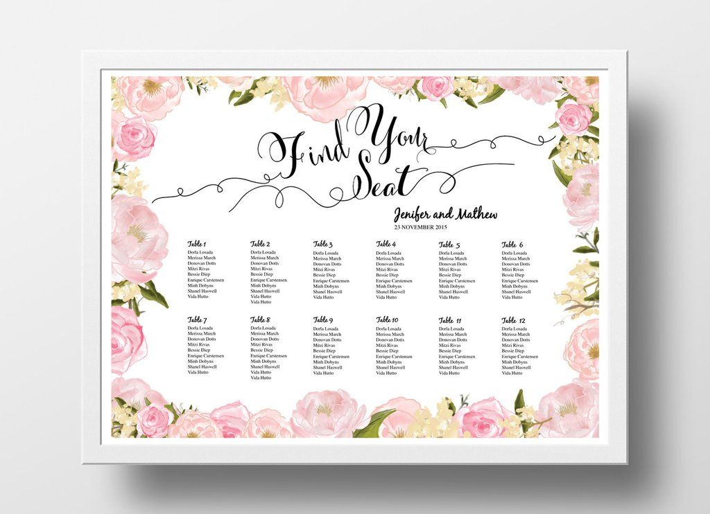 Wedding Seating Poster Template