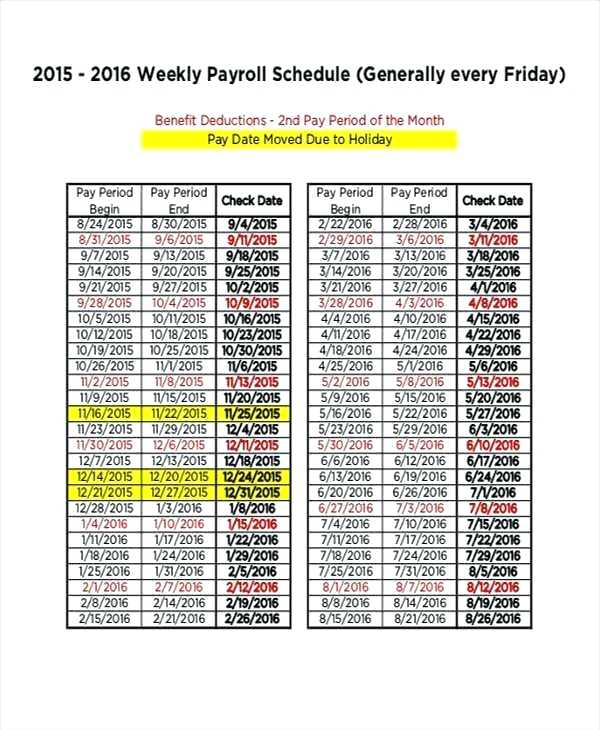 Weekly Payroll Schedule Template 2019