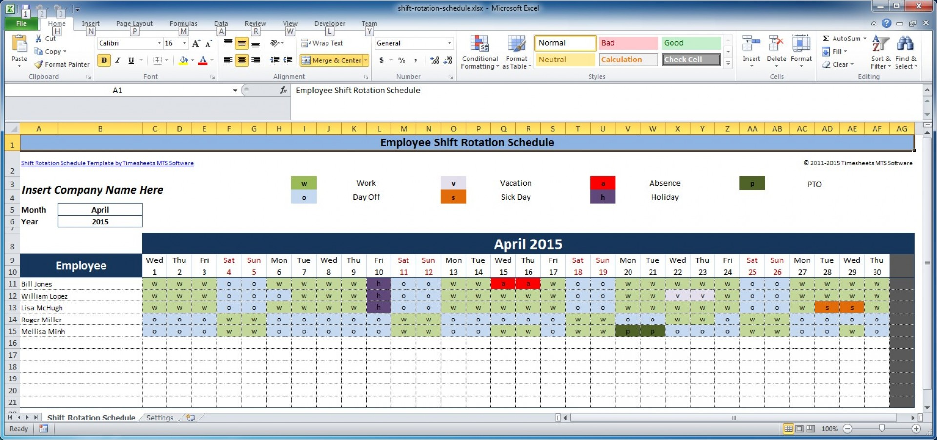 Weekly Shift Schedule Template Excel