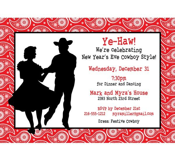 Western Christmas Party Invitation Template