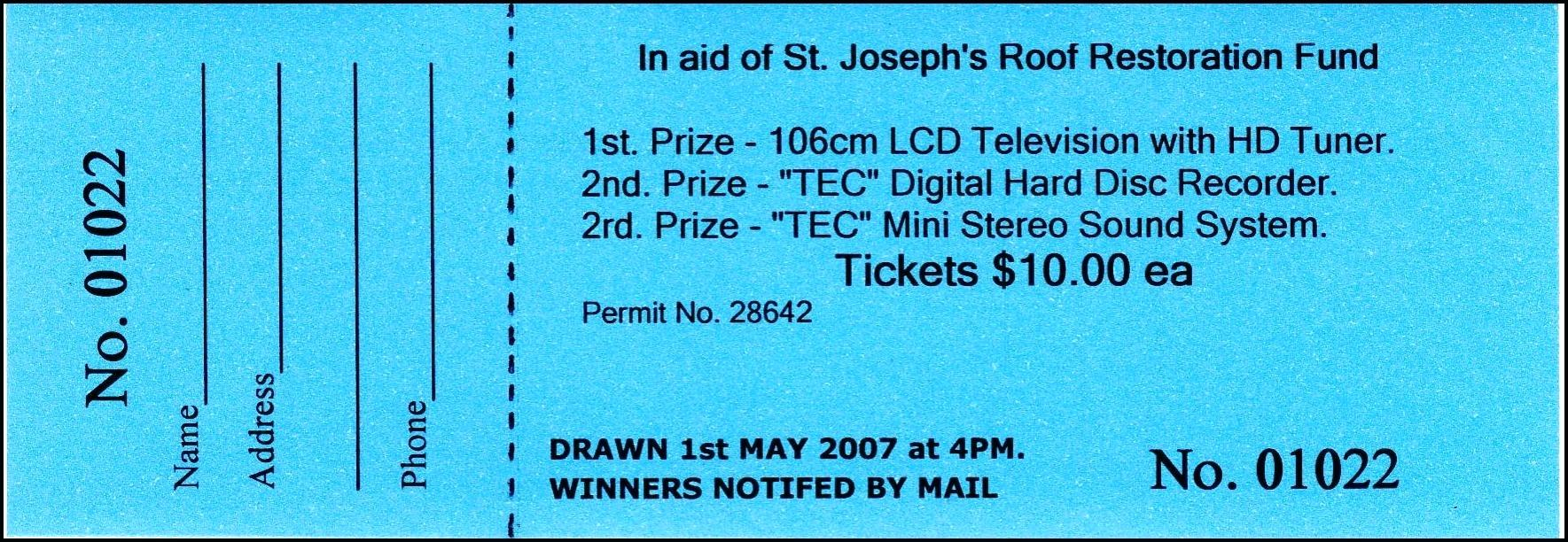 Word Document Numbered Raffle Ticket Template