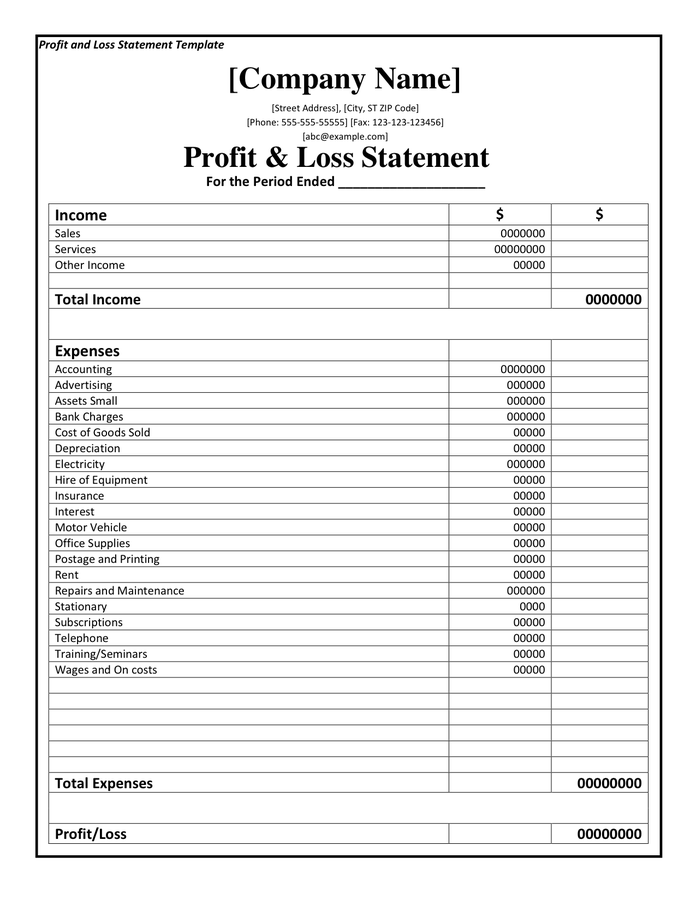 Word Profit And Loss Template