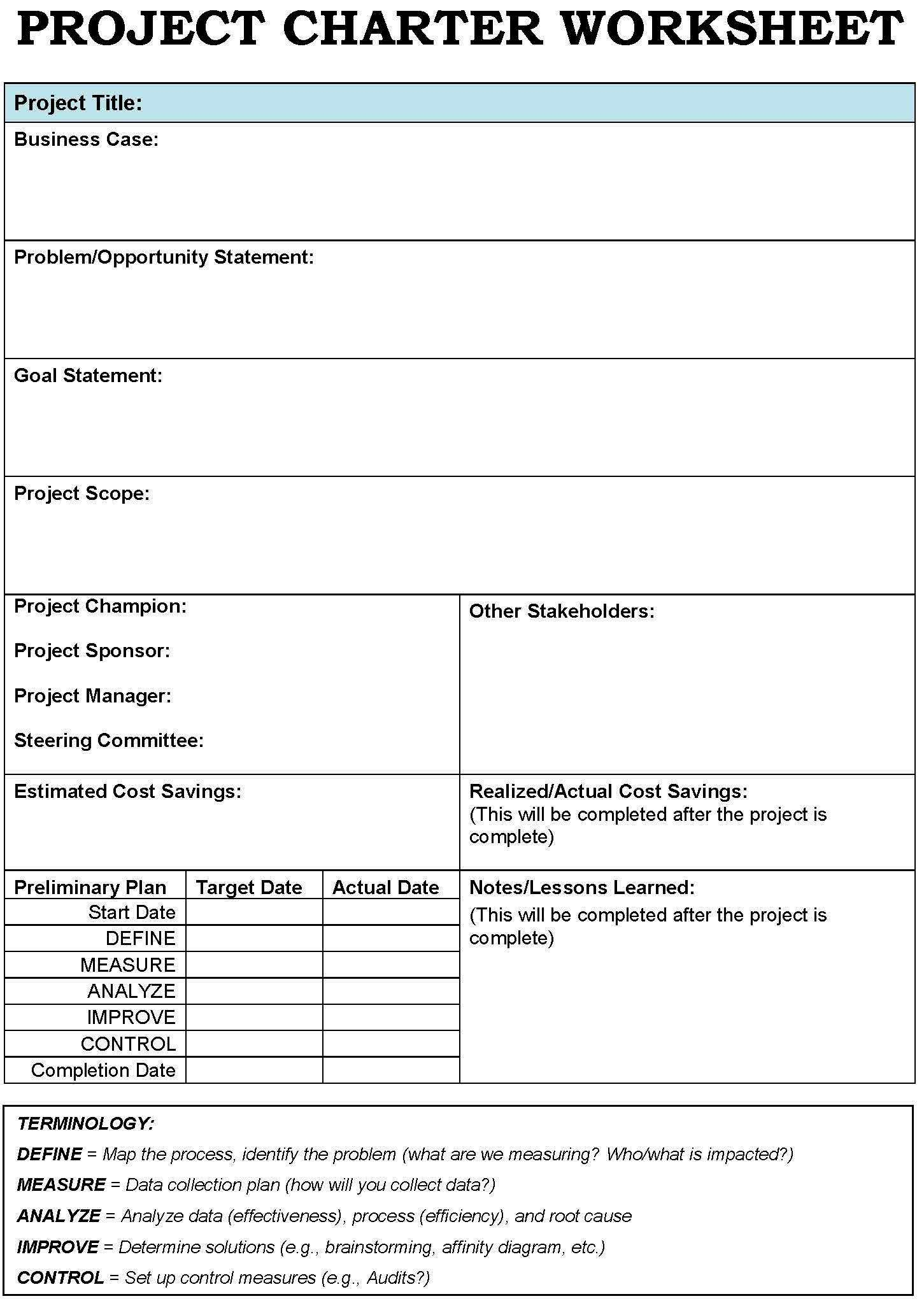 Word Project Management Project Charter Template