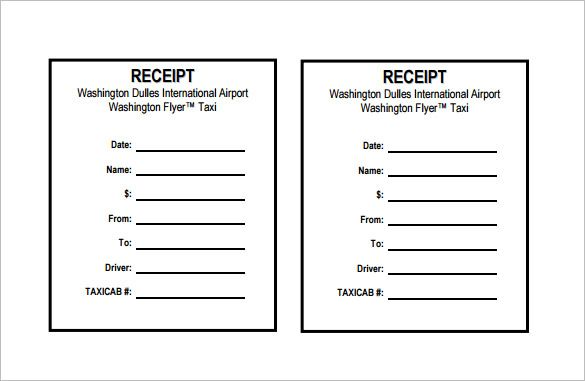 Word Taxi Receipt Template Doc