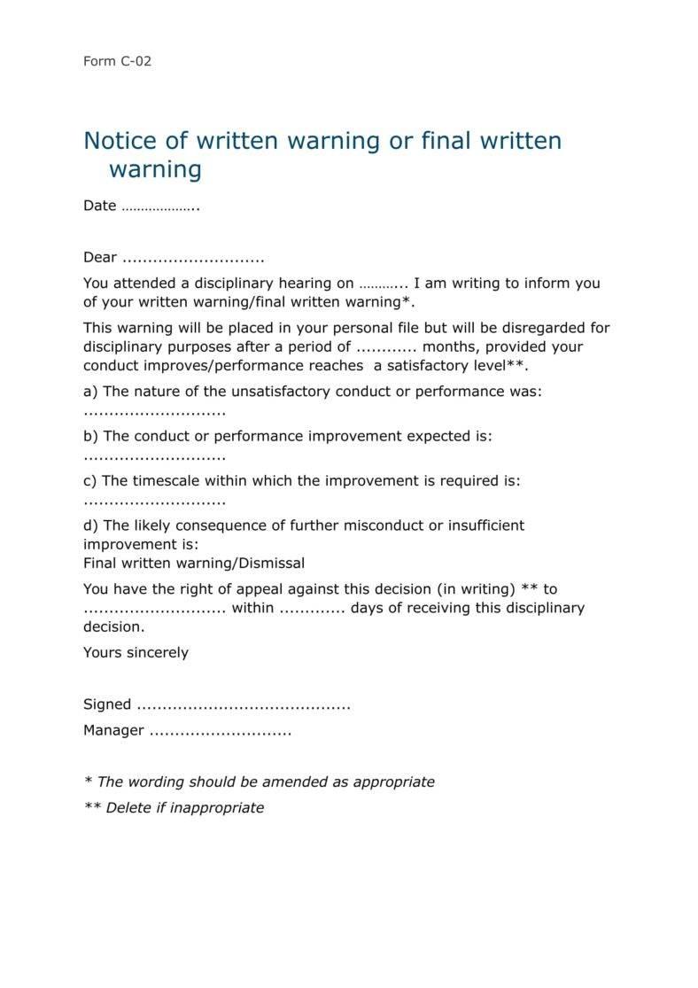 Written Warning Disciplinary Letter Template