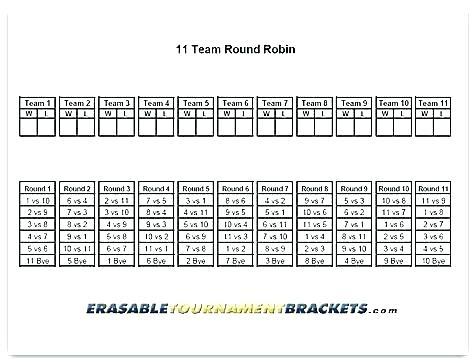 6 Team League Schedule Template