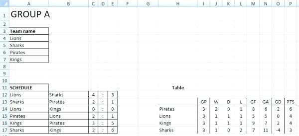 7 Team League Schedule Template