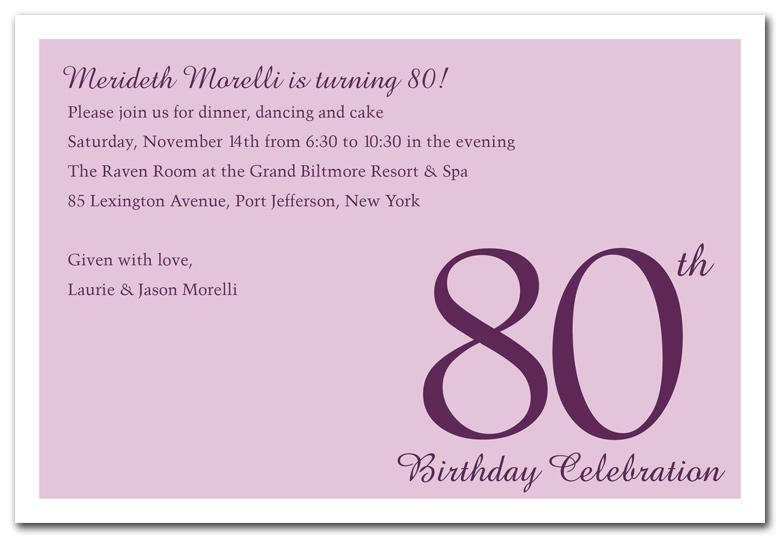 80th Birthday Invitation Wording Ideas Smart Design