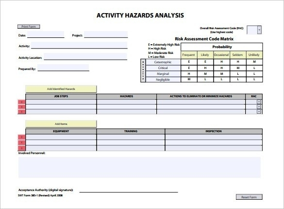 Activity Hazard Analysis Template | Template Throughout Activity Hazard Analysis Template