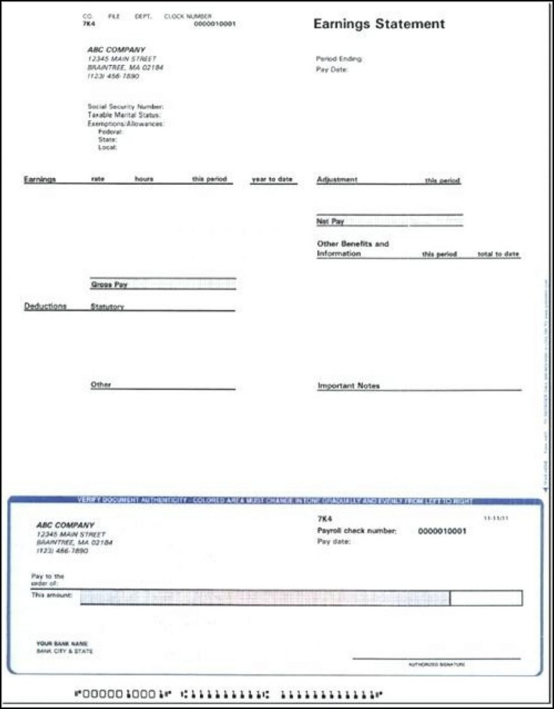 Adp Paycheck Stub Template Free