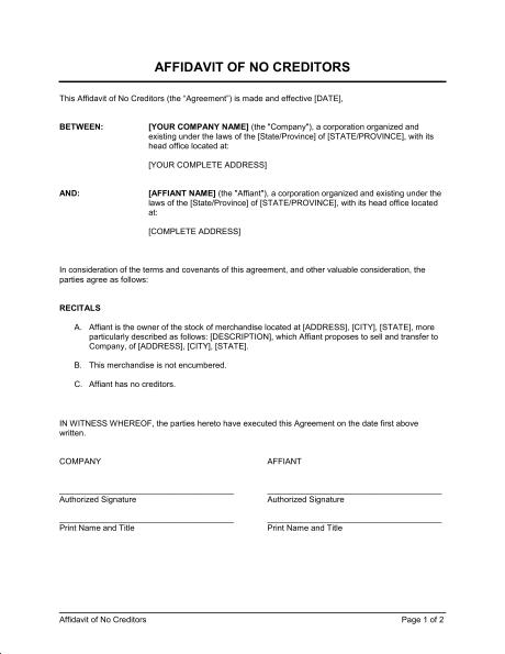 Affidavit Template Pdf