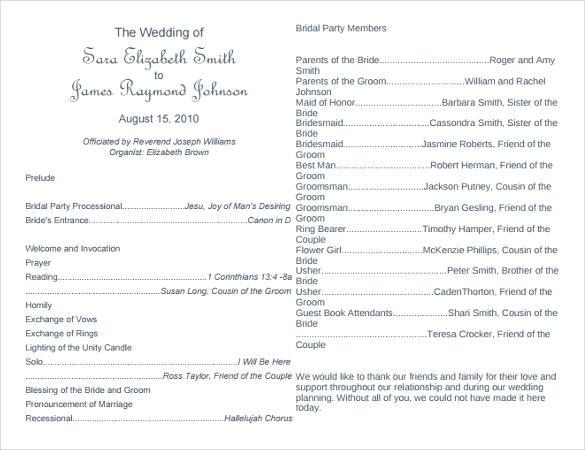 African Traditional Wedding Program Templates