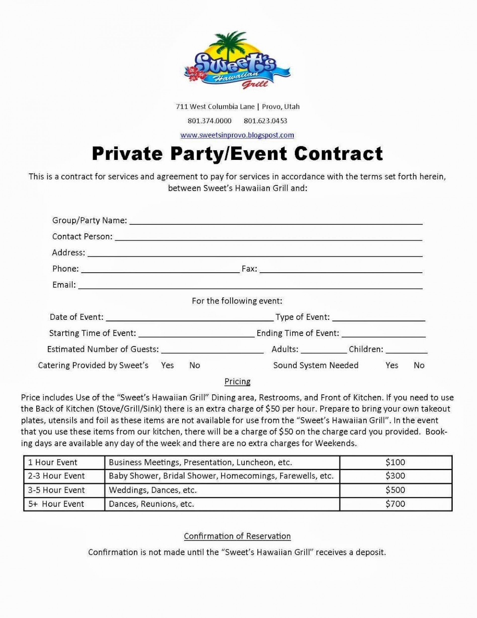 Agreement Party Planner Contract Template