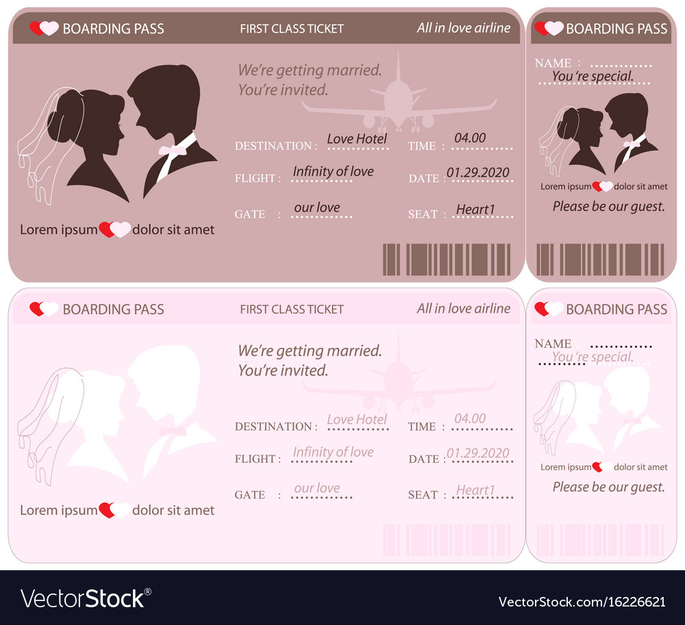 Airline Ticket Wedding Invitation Template