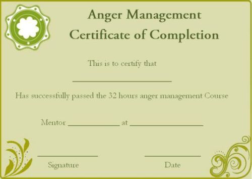 Anger Management Certificate Of Completion Template