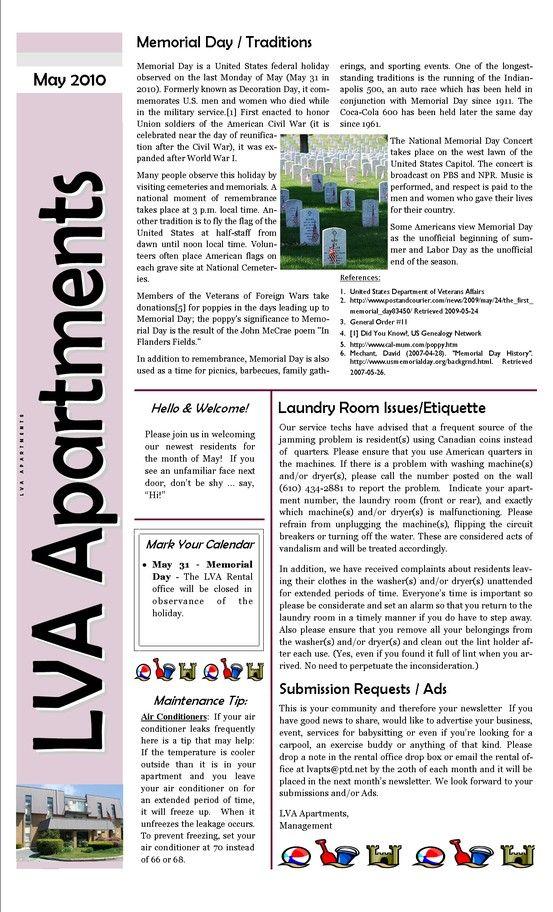 Apartment Complex Apartment Newsletter Templates
